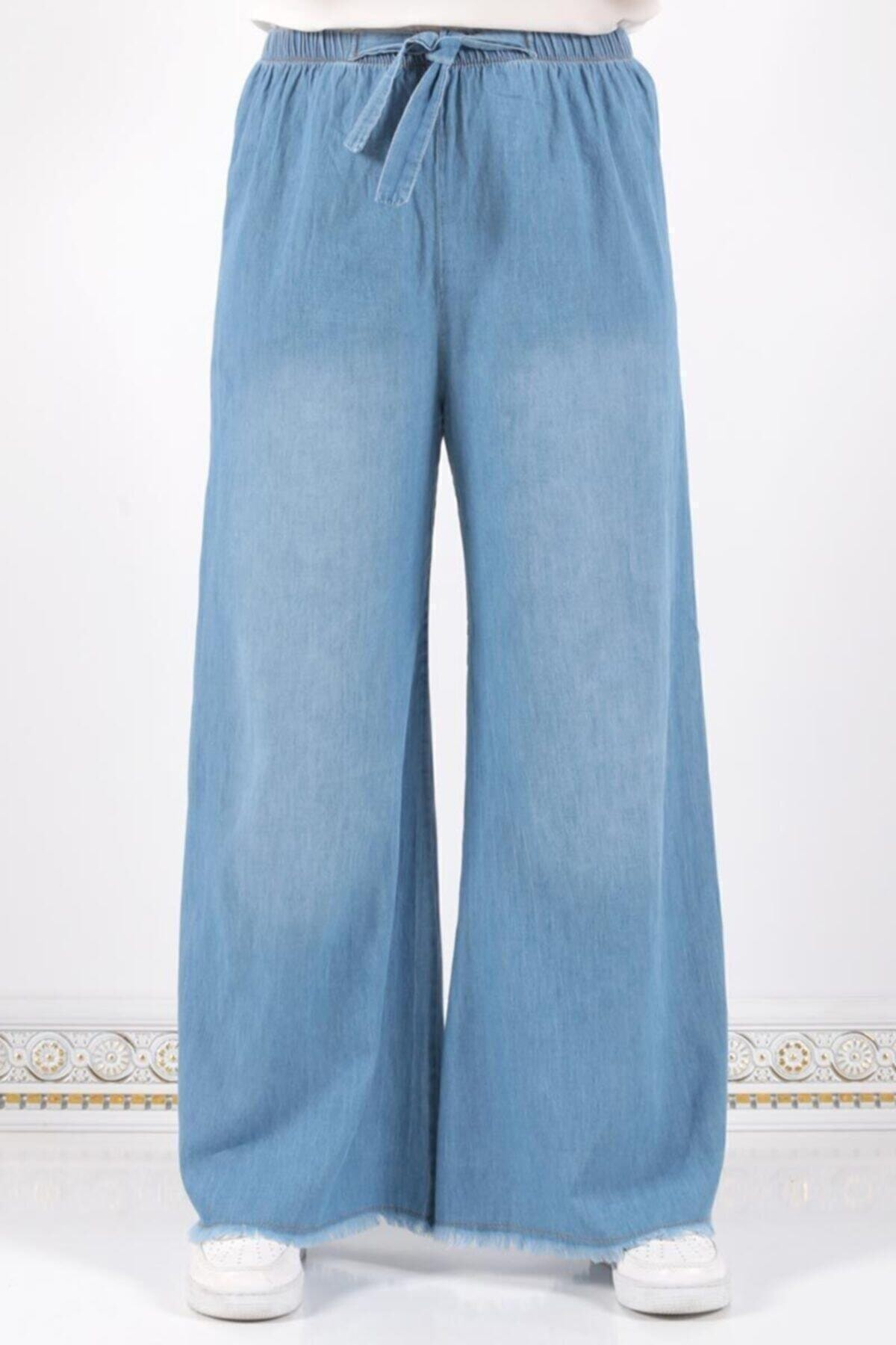 Kadın Mavi Beli Lastikli Bol Paça Pantolon