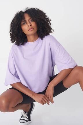 Addax Kadın Lila Oversize T-Shirt P0731 - G6 - K7 Adx-0000020596 1