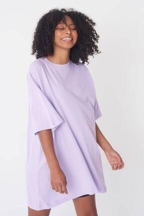 Addax Kadın Lila Oversize T-Shirt P0731 - G6 - K7 Adx-0000020596 2