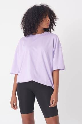 Addax Kadın Lila Oversize T-Shirt P0731 - G6 - K7 Adx-0000020596 3