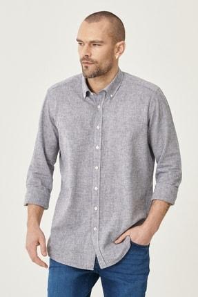 Altınyıldız Classics Erkek Füme Tailored Slim Fit Dar Kesim Düğmeli Yaka Keten Gömlek 2