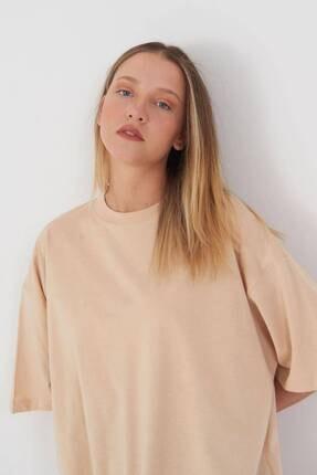 Addax Kadın Bej Oversize T-Shirt P0731 - G6K7 Adx-0000020596 2