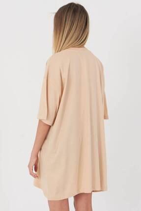 Addax Kadın Bej Oversize T-Shirt P0731 - G6K7 Adx-0000020596 4