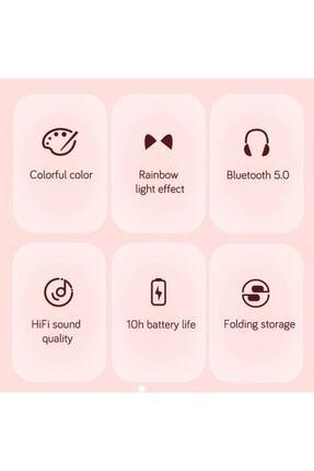 BLUPPLE Kablosuz Bluetooth 5.0 Led Işıklı Sevimli Kedili Şık Tasarım Kulaklık Yeşil Renk 3