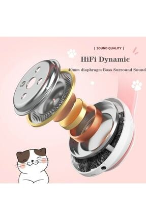 BLUPPLE Kablosuz Bluetooth 5.0 Led Işıklı Sevimli Kedili Şık Tasarım Kulaklık Yeşil Renk 4