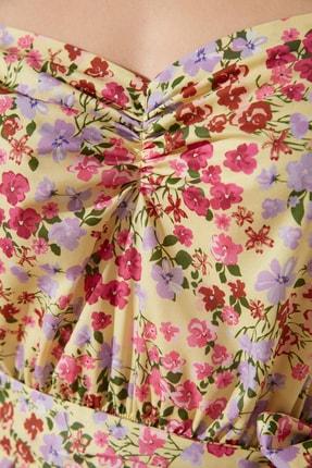 TRENDYOLMİLLA Sarı Kuşaklı Balon Kollu Elbise TWOSS21EL2118 3