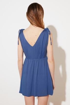 TRENDYOLMİLLA Indigo V Yaka Düğmeli Elbise TWOSS21EL1646 4
