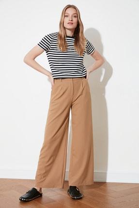 TRENDYOLMİLLA Kahverengi Bol Paça Plili Pantolon TWOAW21PL0076 0