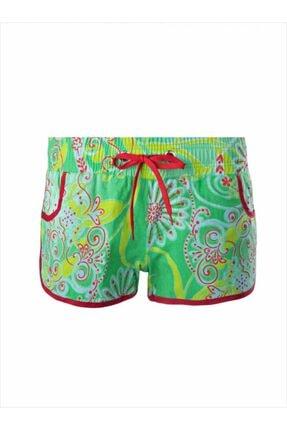 AYYILDIZ Kadın Yeşil Belden Lastikli Kısa Plaj Şortu 67801 2