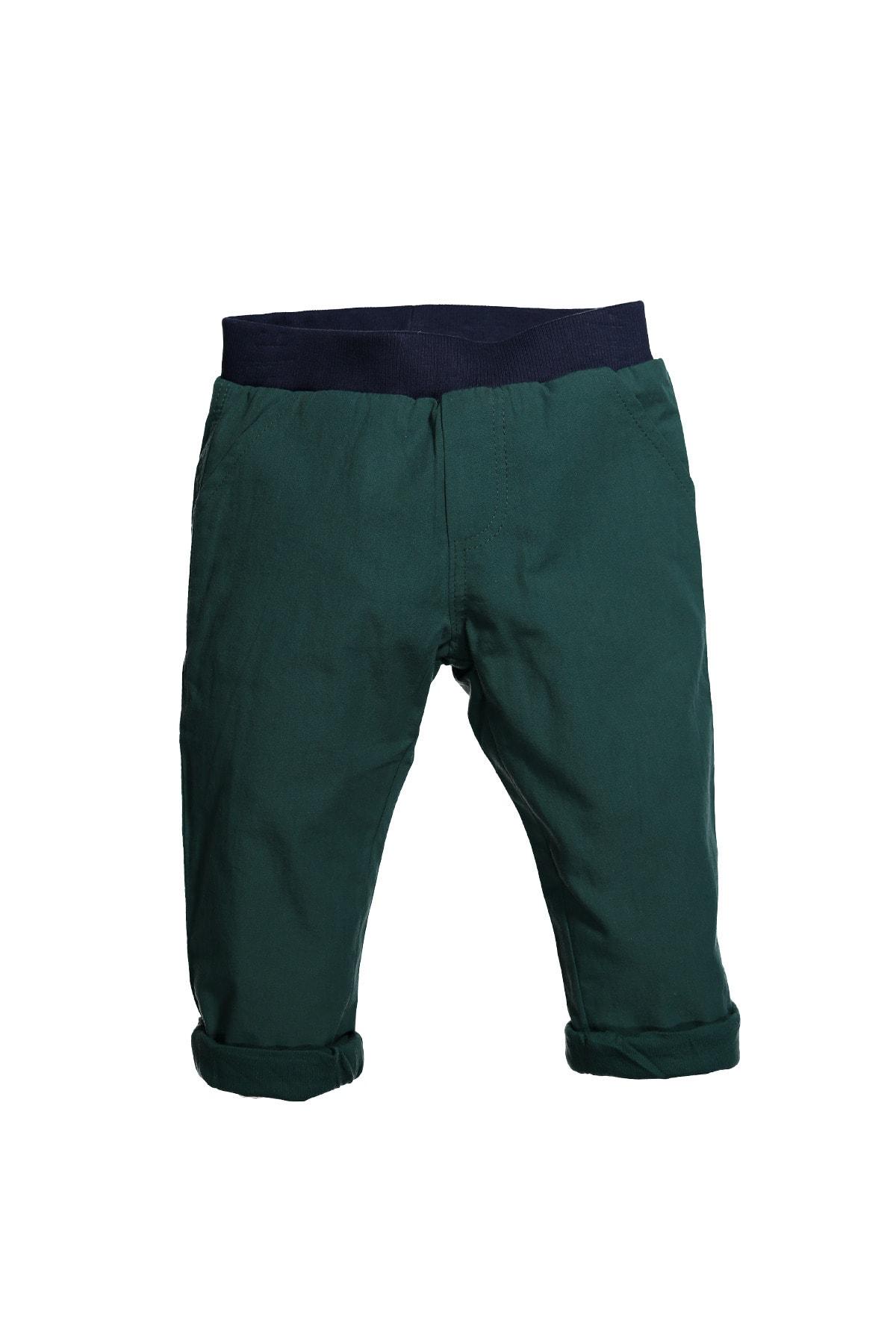 Erkek Bebek Haki Bel Lastikli Koton Pantolon