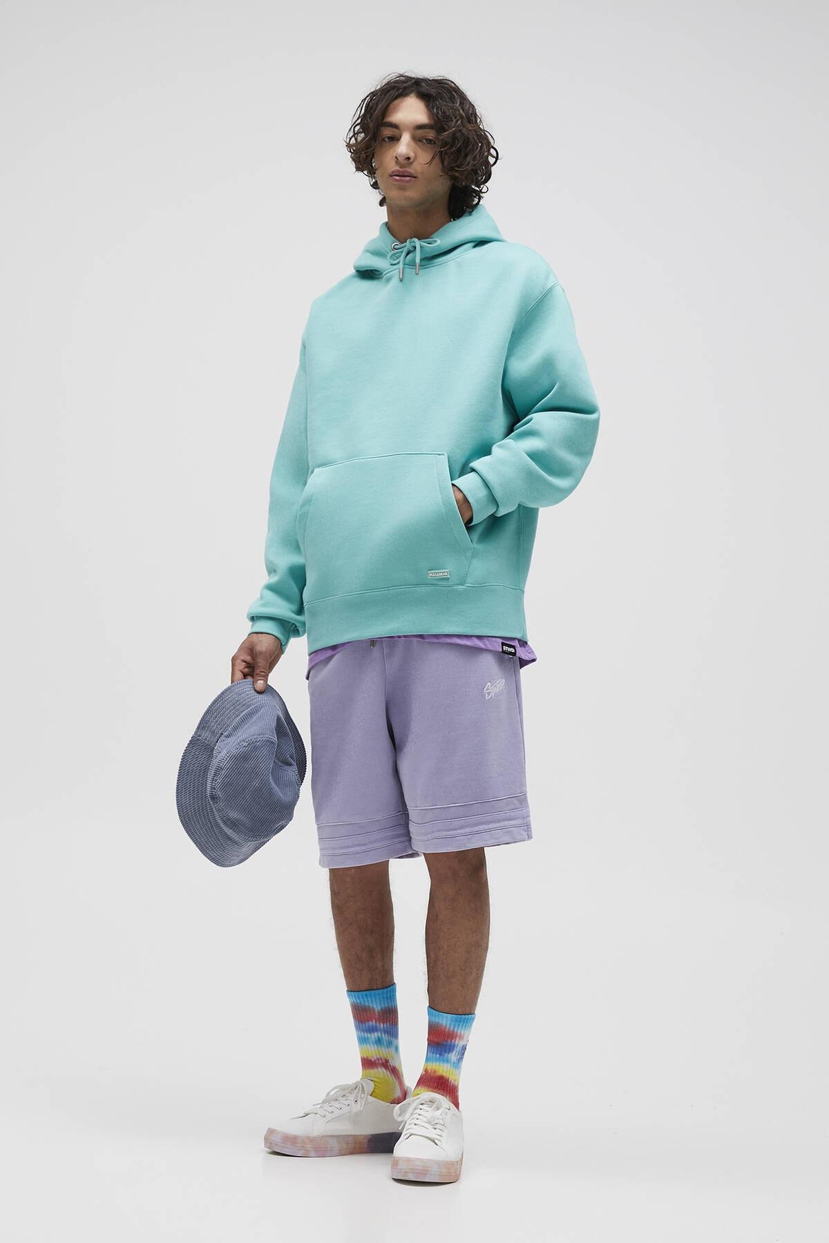 Pull & Bear Erkek Açık Yeşil Basic Comfort Fit Kapüşonlu Sweatshirt 09594913 2