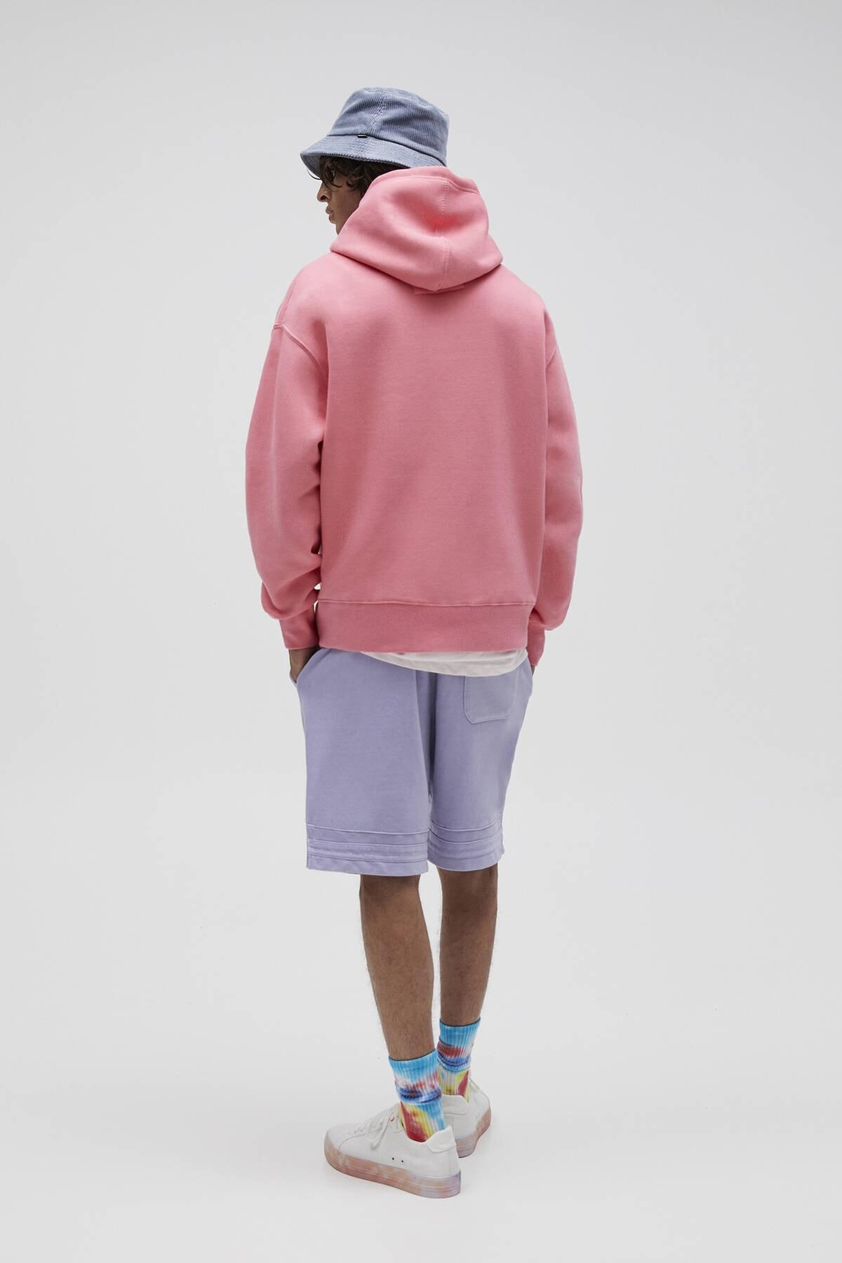 Pull & Bear Erkek Mercan Basic Comfort Fit Kapüşonlu Sweatshirt 09594913 3
