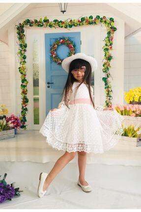 Mixie Kız Çoçuk Beyaz Şapkalı Güpürlü Prenses Model  Elbisesi 2