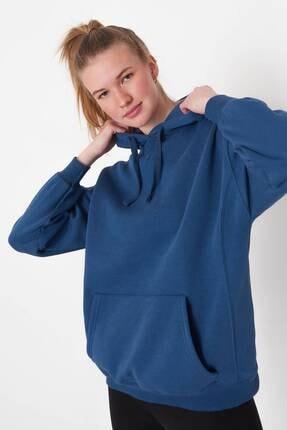 Addax Kadın İndigo Kapüşonlu Sweatshirt S0519 - P10V1 Adx-0000014040 1