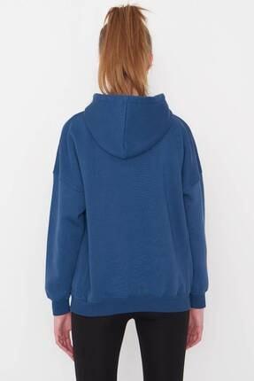 Addax Kadın İndigo Kapüşonlu Sweatshirt S0519 - P10V1 Adx-0000014040 4