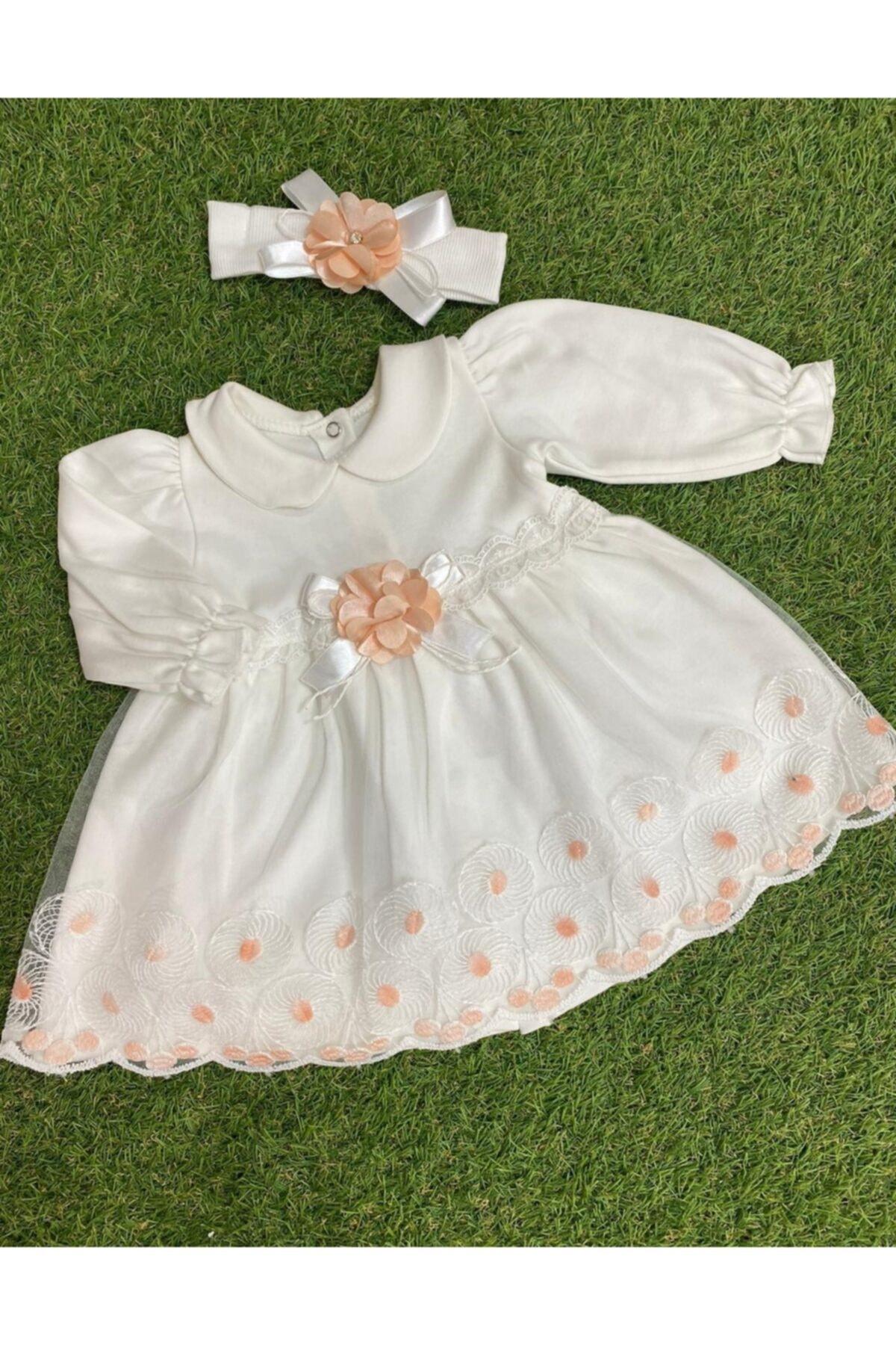 Kız Bebek Ekru Desenli Tül Etekli Çiçekli Penye Elbise
