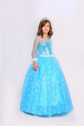 BUTİKHAPPYKİDS Kız Çocuk Mavi Simli Elsa  Uzun Kollu Tarlatanlı Elsa Kostümü 6lı Set 1