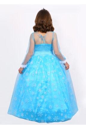 BUTİKHAPPYKİDS Kız Çocuk Mavi Simli Elsa  Uzun Kollu Tarlatanlı Elsa Kostümü 6lı Set 2