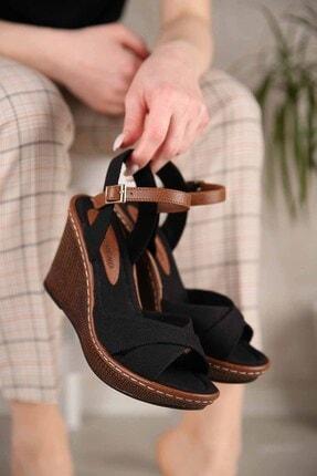 Ccway Kadın Siyah Keten Çapraz Bantlı Dolgu Topuklu Sandalet 0