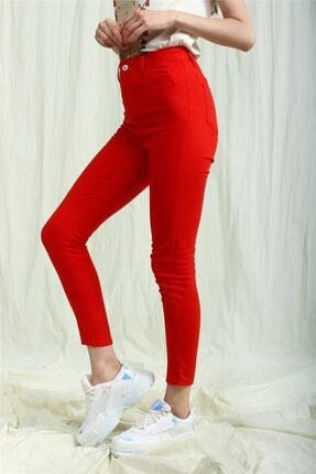 TAY STORE Kadın Kırmızı Yüksek Bel Skinny Pantolon 1