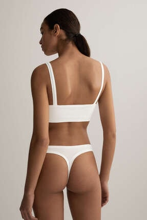 Oysho Kadın Beyaz Çıkarılabilir Cuplı Pamuklu Comfort Top 4