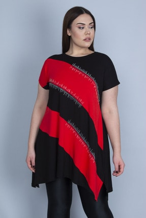 Şans Kadın Kırmızı Renk Kombinli Taş Detaylı Tunik 65N23129 0