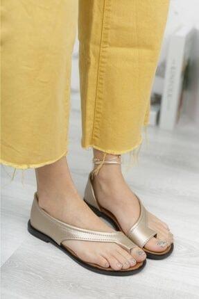 Moda Frato Kadın Altın Rengi Parmak Arası Sandalet Pwr-33 2