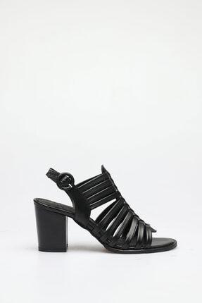 ALTINAYAK Kadın Siyah Çok Bant Topuklu Sandalet 1