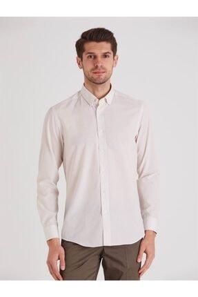 Dufy Bej Desenli Pamuklu Polyester Erkek Gömlek - Slım Fıt 0