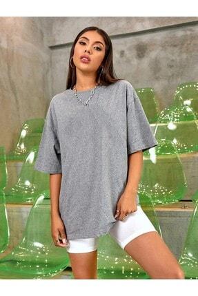OkeanoX Kadın Gri Oversize Basic Tshirt 0