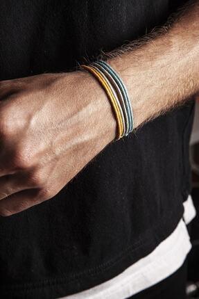 Chill & Feel Kalın Ip - Mavi, Sarı, Gri 3lü Ayarlanabilir Bileklik 1
