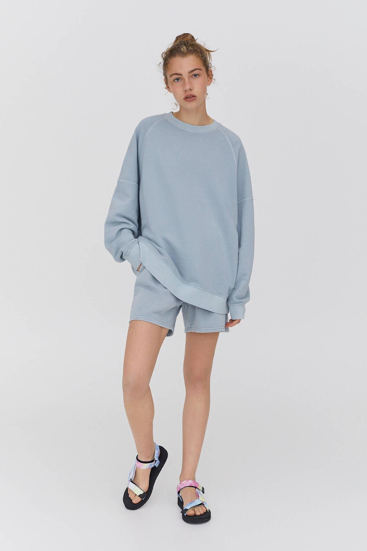 Pull & Bear Fitilli Kenarlı Soluk Efektli Sweatshirt