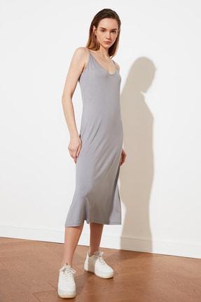 TRENDYOLMİLLA Gri Askılı Örme Elbise TWOSS19VG0313 2