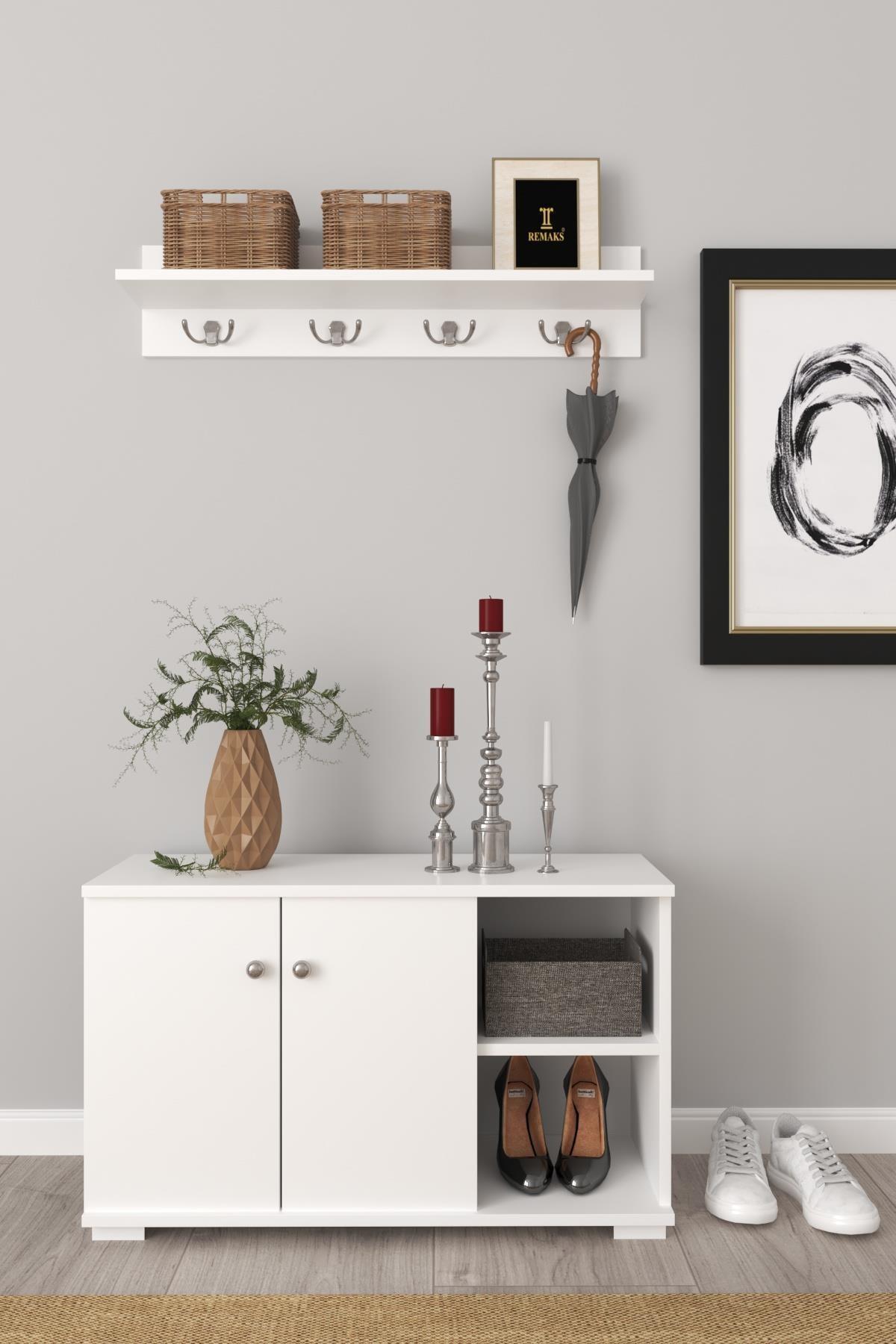 Royal Vestiyer Ayakkabılık Portmanto Ve Duvar Askısı - Beyaz / Beyaz