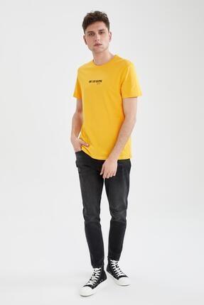 Defacto Erkek Sarı Slim Fit Bisiklet Yaka Baskılı T-Shirt 1