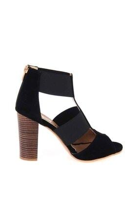Bambi Siyah Süet Kadın Klasik Topuklu Ayakkabı K01525012272 1