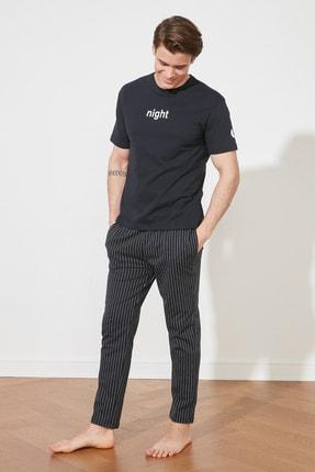 TRENDYOL MAN Lacivert Sloganlı Örme Pijama Takımı THMAW21PT0393 4
