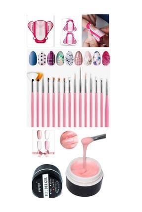 YAYOGE Protez Tırnak Jel-şablon-fırça Seti(100 Adet Şablon+15 Li Fırça Set+nude Pembe Jel) 0