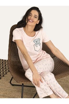 Nbb Kadın Pembe Koala Desenli Pijama Takım 67135 2