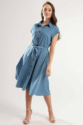 Pattaya Kadın Kuşaklı Kısa Kollu Kloş Gömlek Elbise Y20s110-1677 1