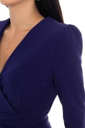 Ayhan Kadın Morcivert Kruvaze Avelop Truvakar Krep Şık Elbise 3
