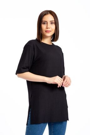 GİYSA Boyfriend Kaşkorse Siyah T-shirt 3683 0