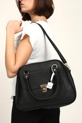 Top All BAG Siyah Kadın El Ve Omuz Iki Bölmeli Büyük Çanta 1