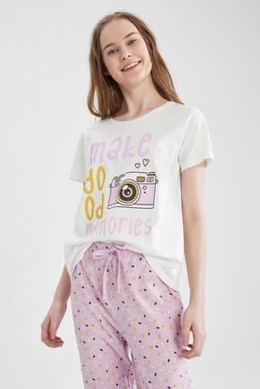 Defacto Kadın Mor Relax Fit Baskılı Kısa Kollu Pijama Takımı 1