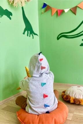 تصویر از Erkek Çocuk Gri Monster Melanj Kapüşonlu Hırka