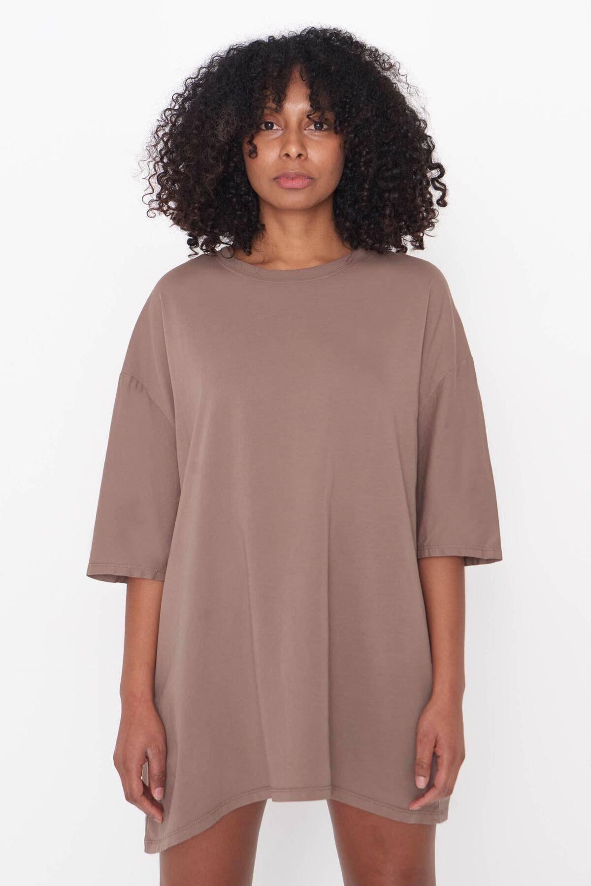 Kadın Açık Kahve Oversize T-Shirt P9536 - B13 Adx-0000023955