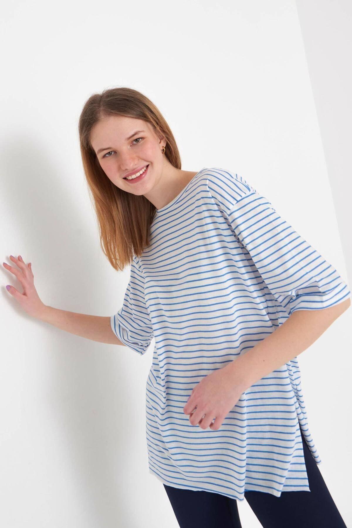 Addax Kadın Saks Mavi Çizgili T-Shirt P6687 - S13 Adx-0000023923 2