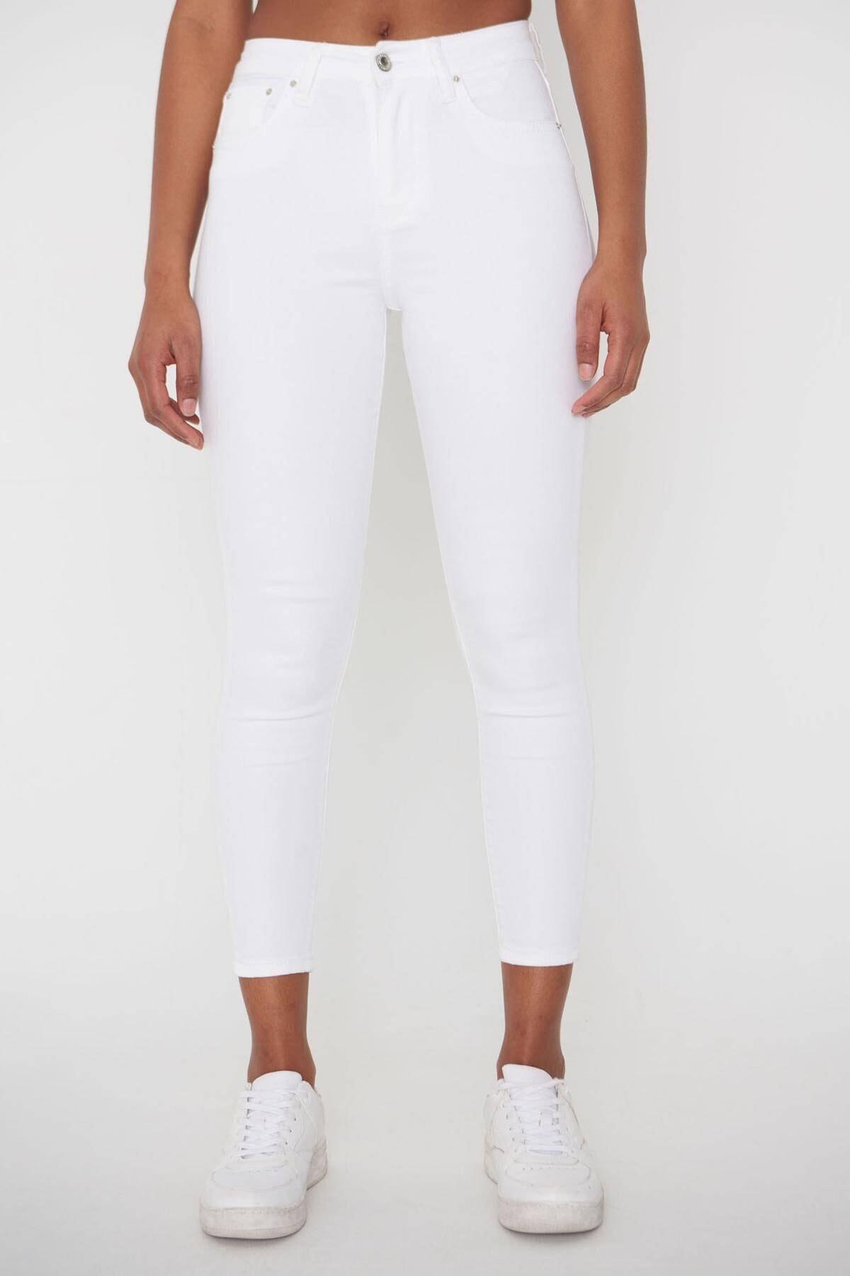Addax Kadın Beyaz Pantolon Pn4424 - Pnj ADX-00008543 0