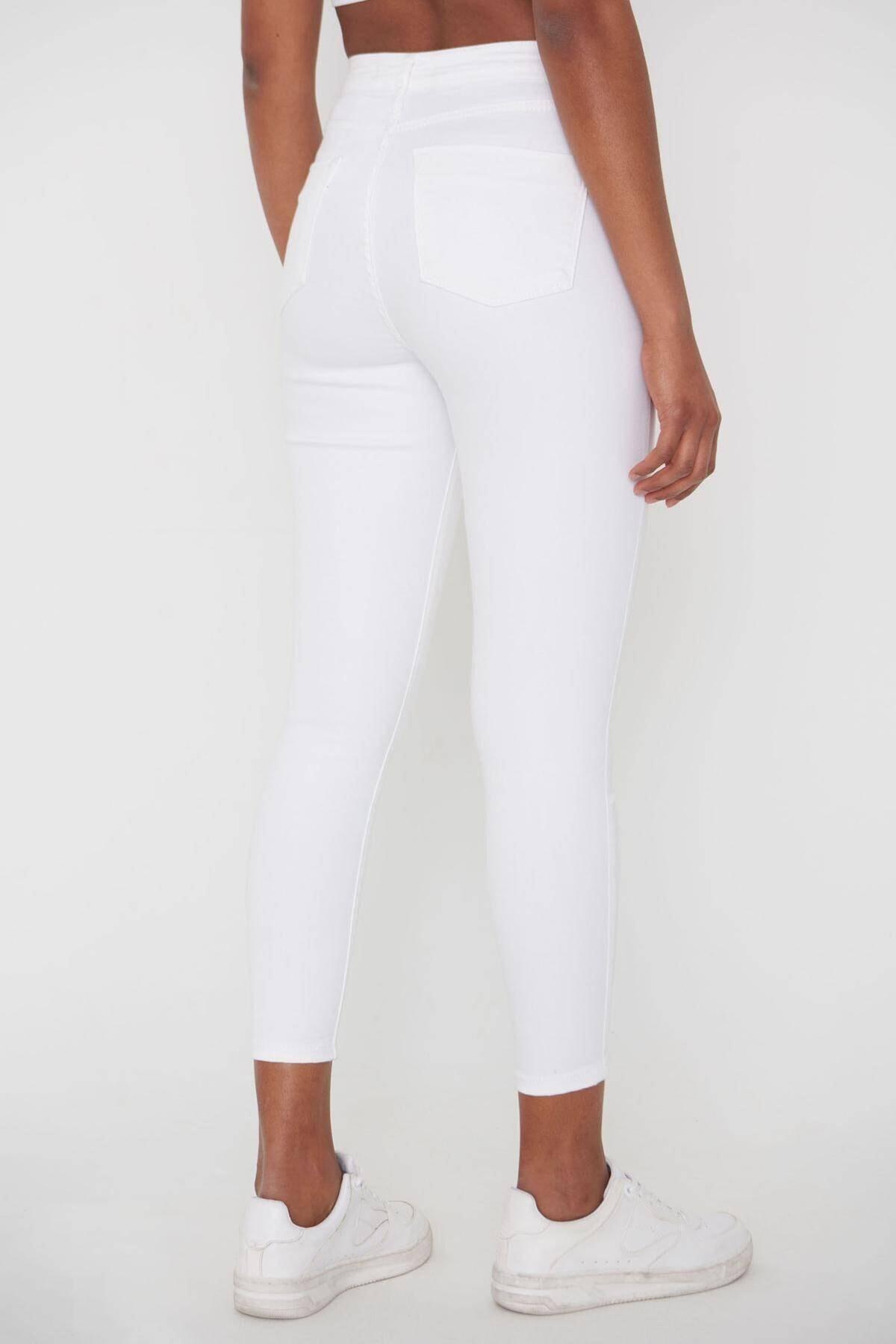 Addax Kadın Beyaz Pantolon Pn4424 - Pnj ADX-00008543 4