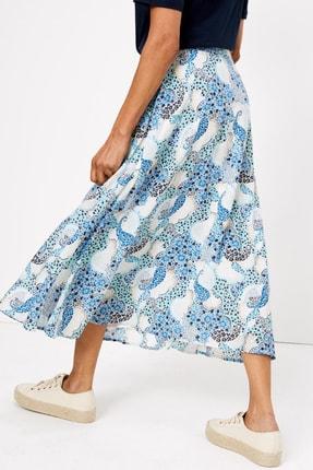 Marks & Spencer Kadın Mavi Çiçek Desenli Midi Etek T42001033 1